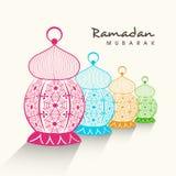 Ramadan Kareem celebration with colorful arabic lamps. Royalty Free Stock Photography
