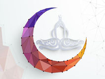 Ramadan Kareem celebration with colorful crescent moon. Royalty Free Stock Images