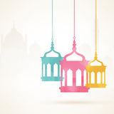 Ramadan Kareem celebration with colorful hanging Arabic lamps. Royalty Free Stock Photos