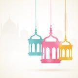 Ramadan Kareem celebration with colorful hanging Arabic lamps. Royalty Free Stock Photos