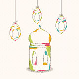 Ramadan Kareem celebration with colorful lamps. Royalty Free Stock Photo