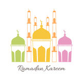 Ramadan Kareem celebration with colorful mosque. Royalty Free Stock Images
