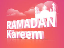 Ramadan Kareem celebration with 3d mosque and text. 3D text Ramadan Kareem with mosque on cloudy colorful background for holy month of Muslim community festival Royalty Free Stock Images