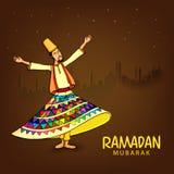 Ramadan Kareem celebration with dervish. Royalty Free Stock Images