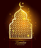 Ramadan Kareem celebration with gold mosque. vector illustration