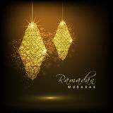 Ramadan Kareem celebration with golden arabic lanterns. Royalty Free Stock Photography
