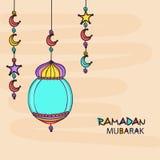Ramadan Kareem celebration greeting card with arabic lantern . Holy month of Muslim community, Ramadan Kareem celebration greeting card with colorful arabic