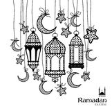Ramadan Kareem celebration greeting card. Decorated with black moons, lamps and stars on white background Royalty Free Stock Photo