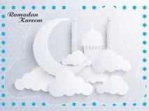 Ramadan Kareem celebration greeting card with Islamic Mosque. Stock Photography