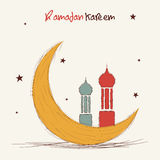 Ramadan Kareem celebration greeting card with Islamic Mosque and moon. Stock Image