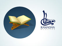 Ramadan Kareem celebration with Islamic book Quran Shareef. Open Islamic book of Quran Shareef with arabic calligraphy text of Ramadan Kareem for Muslim