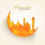 Ramadan Kareem celebration with Islamic moon and mosque. Royalty Free Stock Image