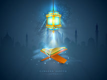 Ramadan Kareem celebration with lamp and Quran Shareef. Islamic religious book Quran Shareef with rosary and illuminated Arabic lamp on Mosque silhouette vector illustration