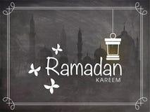 Ramadan Kareem celebration with Mosque and Arabic lantern. Stock Images