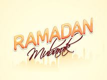 Ramadan Kareem celebration with mosque. Colorful text Ramadan Mubarak on mosque silhouette background for islamic holy month of prayer celebration Stock Images