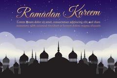 Ramadan Kareem Cielo nocturno con la silueta y las nubes de la mezquita Fondo árabe