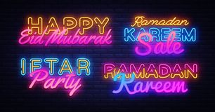 Ramadan Kareem collection neon signs vector. Leaflet design template concept of lines with colored crescent and mosque. Iftar party. Islamic banner background royalty free illustration