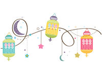 Ramadan Kareem with colorful Lamps, Crescents and Stars. Traditional lantern of Ramadan vector background