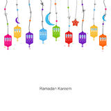 Ramadan Kareem with colorful Lamps, Crescents and Stars.  Royalty Free Stock Photography