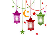 Ramadan Kareem. Colorful lanterns in oriental style on chains. With burning candles. Asterisks, crescent. Isolated on. White background. Vector illustration