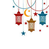 Ramadan Kareem. Colorful lanterns in oriental style on chains. Festive design of the postcard. Isolated on white. Background. Vector illustration Royalty Free Stock Photography