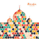 Ramadan Kareem. Colorful Ornamental Arabic pattern with Mosque in paper cut style. Arabesque pattern. Stock Photo