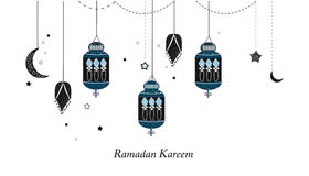 Ramadan Kareem com lâmpadas, crescentes e estrelas Lanterna preta tradicional do fundo da ramadã ilustração royalty free