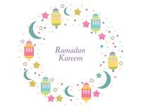 Ramadan Kareem con las lámparas, los crecientes y las estrellas Linterna tradicional del ejemplo colorido del vector del marco de