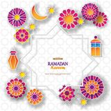 Ramadan Kareem concept banner with islamic geometric patterns and eight pointed star frame. Paper cut 3d flowers. Traditional lanterns, moon and stars on light royalty free illustration