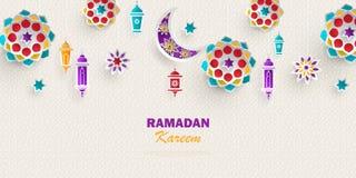 Free Ramadan Kareem Concept Horizontal Banner With Islamic Geometric Patterns. Paper Cut Flowers, Traditional Lanterns, Moon And Stars Royalty Free Stock Photo - 144762475