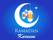 Ramadan Kareem crescent moon lanterns silhouette card. Or background Royalty Free Stock Images