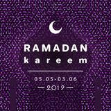 Ramadan kareem crescent moon and mosque dome with shadow. Vector illustration stock illustration