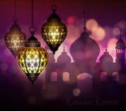 Ramadan Kareem, cumprimentando o fundo imagens de stock
