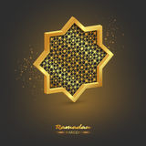 Ramadan Kareem 3d octagon. Holiday background with glowing light and traditional style pattern. Vector illustration Stock Photo
