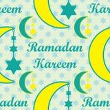 Ramadan Kareem-de maan hangt ster naadloos patroon royalty-vrije illustratie