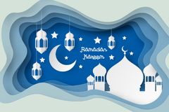 Ramadan Kareem Design Background Art de papier illustration stock