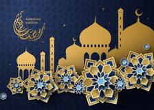 Ramadan Kareem design. Luxurious geometric floral pattern and mosque in golden and blue color, Arabic calligraphy greeting poster vector illustration