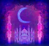 Ramadan Kareem Design na noite ilustração royalty free
