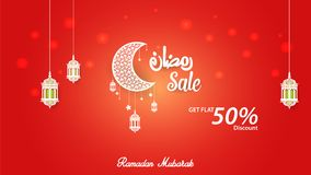 Ramadan Kareem 50% discount Sale Banner, cover Template Design.  Stock Image