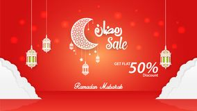 Ramadan Kareem 50% discount Sale Banner, cover Template Design.  Stock Photo