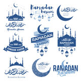 Ramadan Kareem emblems set. Set of emblems for islamic holy holiday Ramadan. Ramadan Kareem calligraphy. Ramadan traditions. Ramadan greeting. Best badges set
