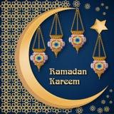 Ramadan Kareem extrahieren Hintergrundschablone mit Laternen, moon, spielen, Text und arabische Verzierung die Hauptrolle Lizenzfreie Stockfotografie