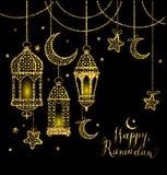 Ramadan Kareem för hälsningkort design med lampor och månar royaltyfri illustrationer