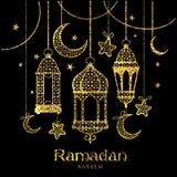 Ramadan Kareem för hälsningkort design med lampor och månar stock illustrationer