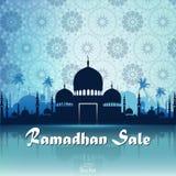 Ramadan Kareem f?rs?ljning med mosk?n royaltyfri illustrationer