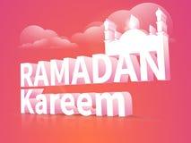 Ramadan Kareem-Feier mit Moschee 3d und Text stock abbildung
