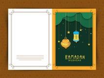 Ramadan Kareem-Feiergruß-Kartendesign lizenzfreie abbildung