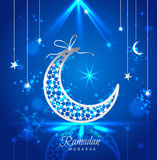 Ramadan Kareem-Feiergrußkarte verzierte mit den Monden Stockfotografie