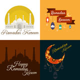Ramadan Kareem feliz, saludando el sistema del ejemplo del vector del fondo Fotos de archivo