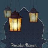 Ramadan Kareem ferieislam, illustrationer med arabiska lyktor Isolerad vektor royaltyfri illustrationer